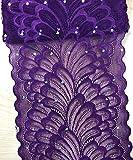 TR04 15 cm breite Stretch-Polyester Stickerei Pailletten Blumenmuster elastisch Spitzenbesatz DIY Handwerk alle Farben violett