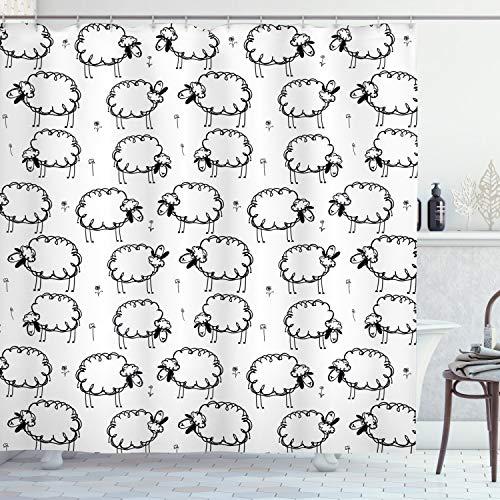 ABAKUHAUS Tier Duschvorhang, Lustige Sheeps auf Einer Wiese, Wasser Blickdicht inkl.12 Ringe Langhaltig Bakterie & Schimmel Resistent, 175 x 220 cm, Weiß & Schwarz