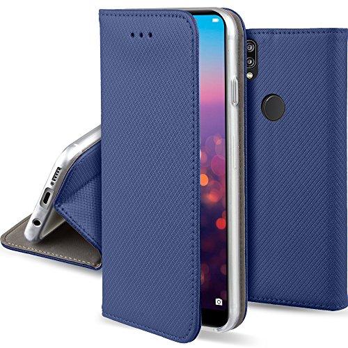 Moozy Cover per Huawei P20 Lite, Blu Scuro - Custodia a Libro Flip Smart Magnetica con Appoggio e Porta Carte