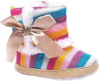 Botas de invierno Baby Girl, arco iris suave suela–Botas de nieve Suave Crib Zapatos bebé Botas por orangeskycn