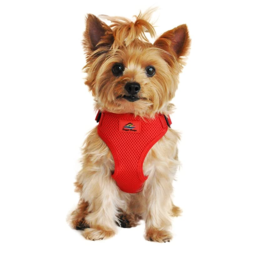 Doggie Design Soft Lightweight Wrap and Snap Choke Free Dog Harness - Flame Red (L)