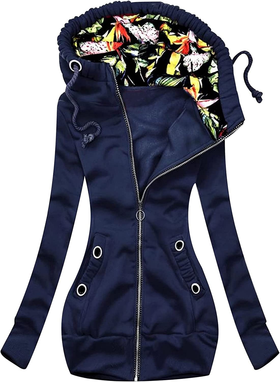 Women's Trench Coats,Women's Large Print Hooded Plus Size Warm Jacket Ring Decoration Zipper Patchwork Long Lined Outerwear