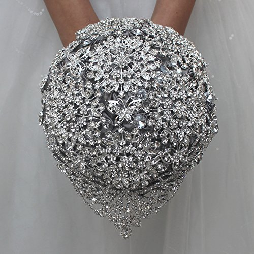 FYSTORE romántico Rosa Flor Brillante Full Diamantes de Cristal Ramo broches Flor Ramo de Boda para Novia Novia 18cm/7Pulgadas