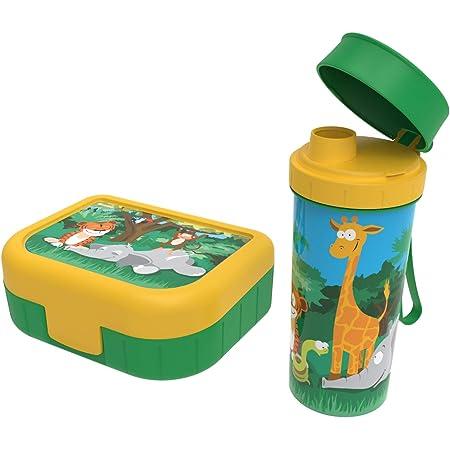 """Rotho, Memory Kids, Lot de 2 boîtes à légumes avec bouteille en plastique (PP) sans BPA, vert avec motif """"jungle, 1l + 0,4l (20,7 x 7,5 x 17,4 cm)"""
