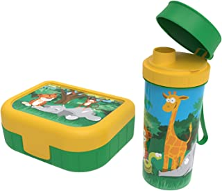 """Rotho, Memory Kids, Lot de 2 boîtes à légumes avec bouteille en plastique (PP) sans BPA, vert avec motif """"jungle, 1l + 0,4..."""