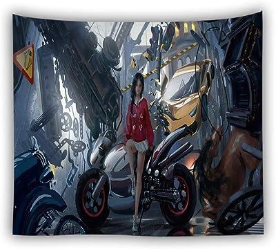Tapiz De Pared, Novedad Bohemio Hippie Abstracta Para Colgar En Pared Tapiz Motocicleta Belleza, Decoración De Arte Rectangular Tejido Estampado De Salón Dormitorio