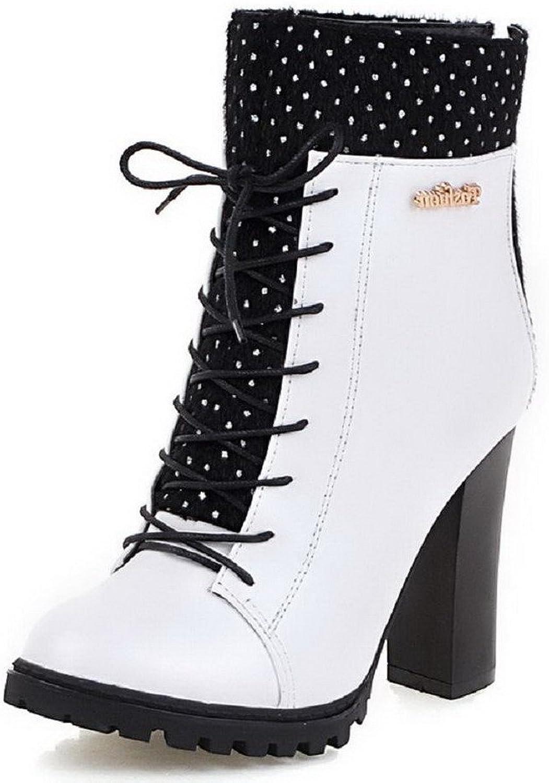 WeiPoot Women's Zipper Round Closed Toe High-Heels Blend Materials Low-top Boots