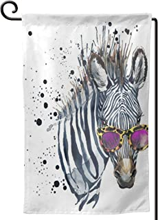 Garden Flags Funny Zebra with Sunglasses Wall Lawn Banner Double Sided Yard Decor 12.5 X 18 Inch
