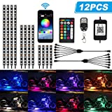 TACHICO 12Pcs Motorcycle LED Light Kit Strips APP/RF Wireless Under glow Lights Atmosphere Multi-Color Lamp...