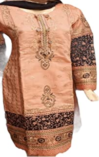Straight Shirt Full Embroidery With Organza Dupatta Traditional Pakistani Ready to Wear Dress for women/Girls, Peach