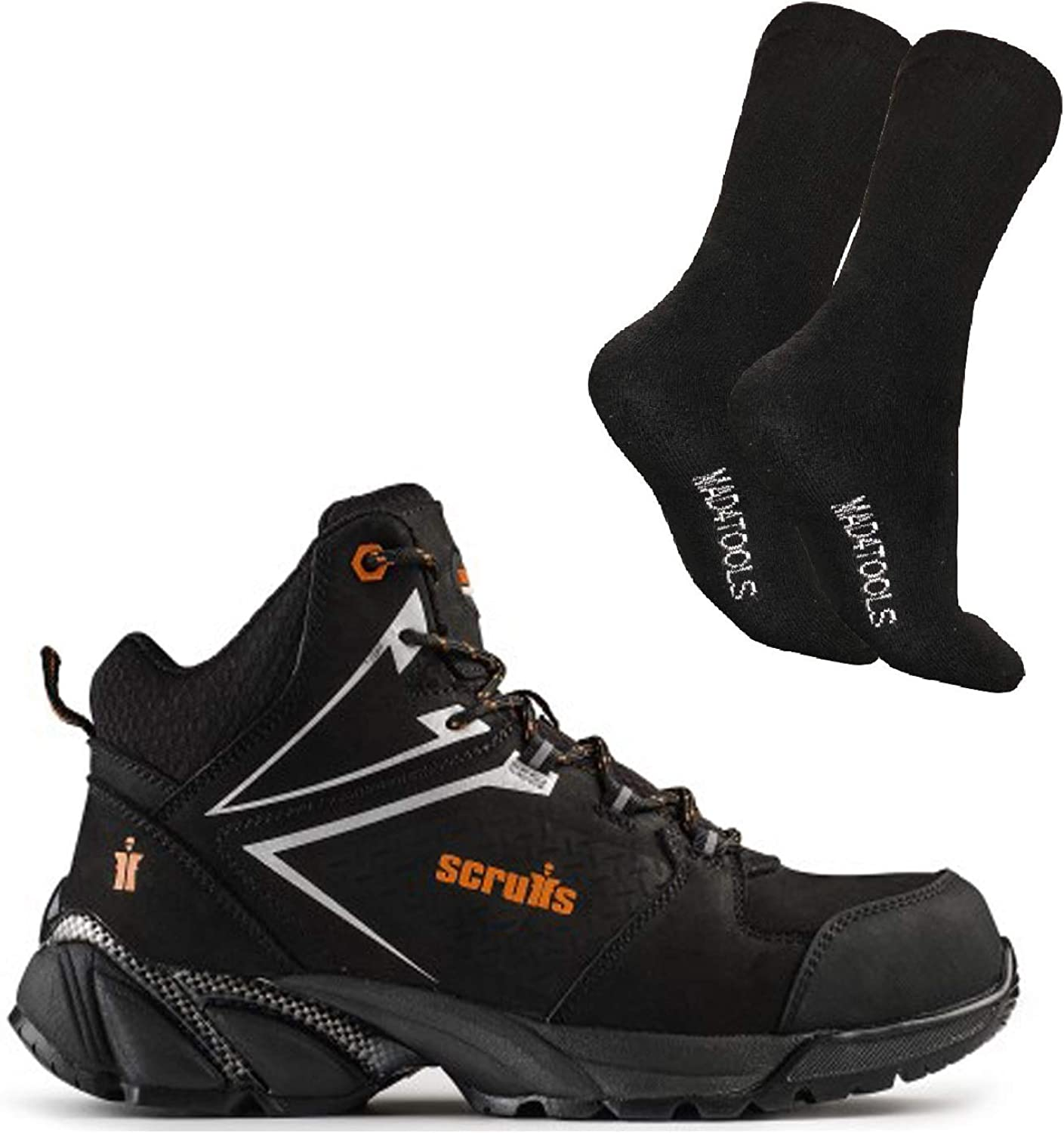 Scruffs Victory Safety Hiker Boot & mad4tools Boot Socks