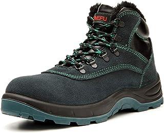 Willsky Chaussures De Sécurité Hommes, Chaussures en Acier Bottes De Sécurité Haut Haut Isolation Travail Plus Velours Pro...