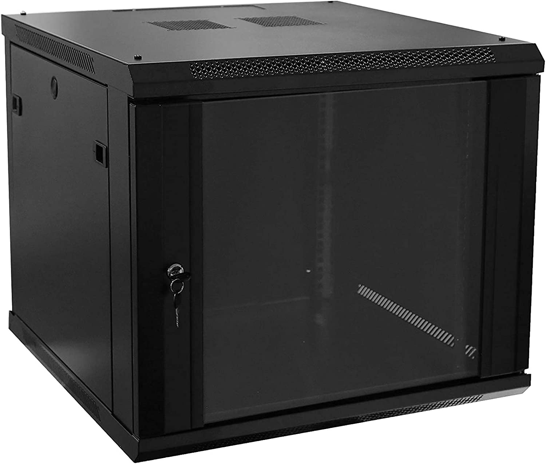1 Set of 9U Network Server Data Cabinet Black Rack Glass Door Lock,Apply to Network Wiring Room,Computer Room,Data Room,Control Center,Home,Office,etc.