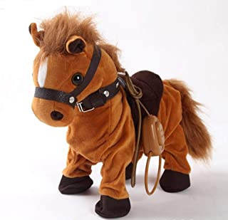 Haktoys Updated Remote-Controlled, Dancing, Singing and Walking Pony Pet   Wired Walk Along Brown Horse Musical Toy with Leash   Now with 9 Different Child-Friendly Songs, Realistic Design and Sounds