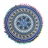 "Indian Mandala Large Round Bohemian Floor Pillow Cover Cushion Yoga Meditation Seating Ottoman Soft Zipper Throw Cover Hippie Decorative Pouf Pillowcases 17.017.0"" (Sky Blue)"