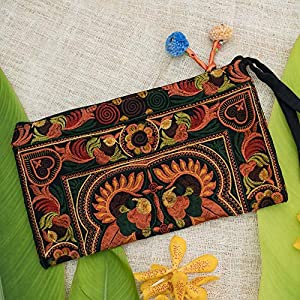 Changnoi Mocha Bird Hmong Embroidered Wristlet Clutch Bag Pom Pom Handbags