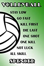 Volleyball Stay Low Go Fast Kill First Die Last One Shot One Kill Not Luck All Skill Spencer: College Ruled   Composition ...