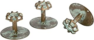 Vintage Water Faucet Valve Handle Wall Hooks - Decorative Distressed Metal Hangers (Set of 3)