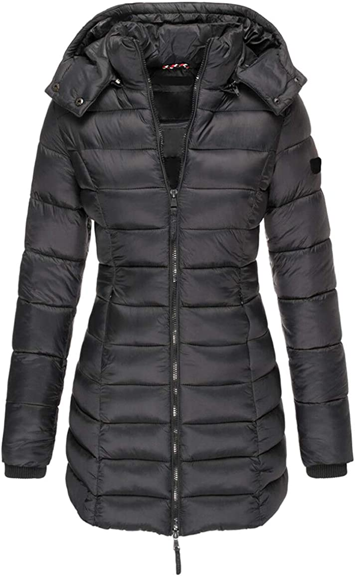 chouyatou Women's Winter Daily Wear Quilted Down Alternative Coat Removable Hood