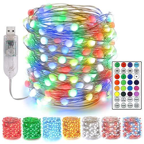 UBEGOOD Stringa Luci LED, 10M 100 LED Fata Luci Decorative USB Stringa Luci LED Ghirlanda Luminose Dimmerabili 16 Colori con Telecomando Compatibile per Festa Interni Giardino Natale Matrimonio
