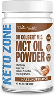 Keto Zone MCT Oil Powder | All Natural Hazelnut Flavor | 300 Grams & 30 Day Supply | Recommended in Dr. Colbert's Keto Zone Diet | Ketogenic Creamer | Best MCT Powder | 70% C8 30% C10 | 0 Net Carbs