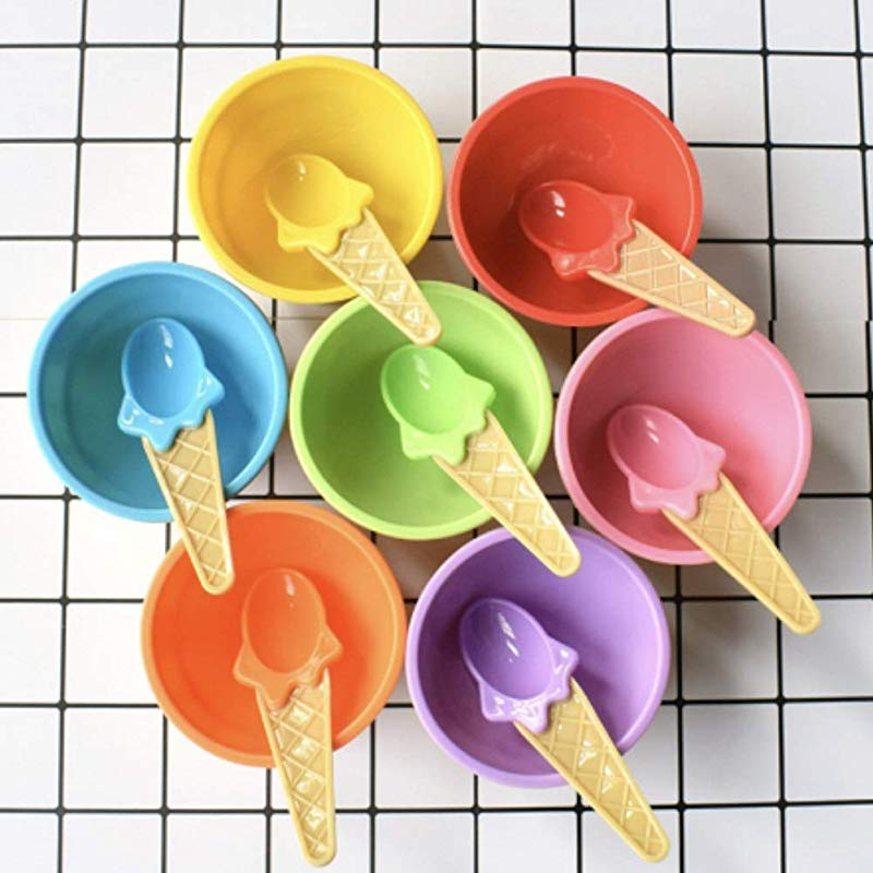 CheeseandU 12Pack Kids Ice Cream Bowl Spoon Set Safe Durable Plastic Candy Color Lovely Dessert Bowl Yougurt Cup DIY Ice Cream Tools Summer Festive Party Favor Kids Gift 24pcs