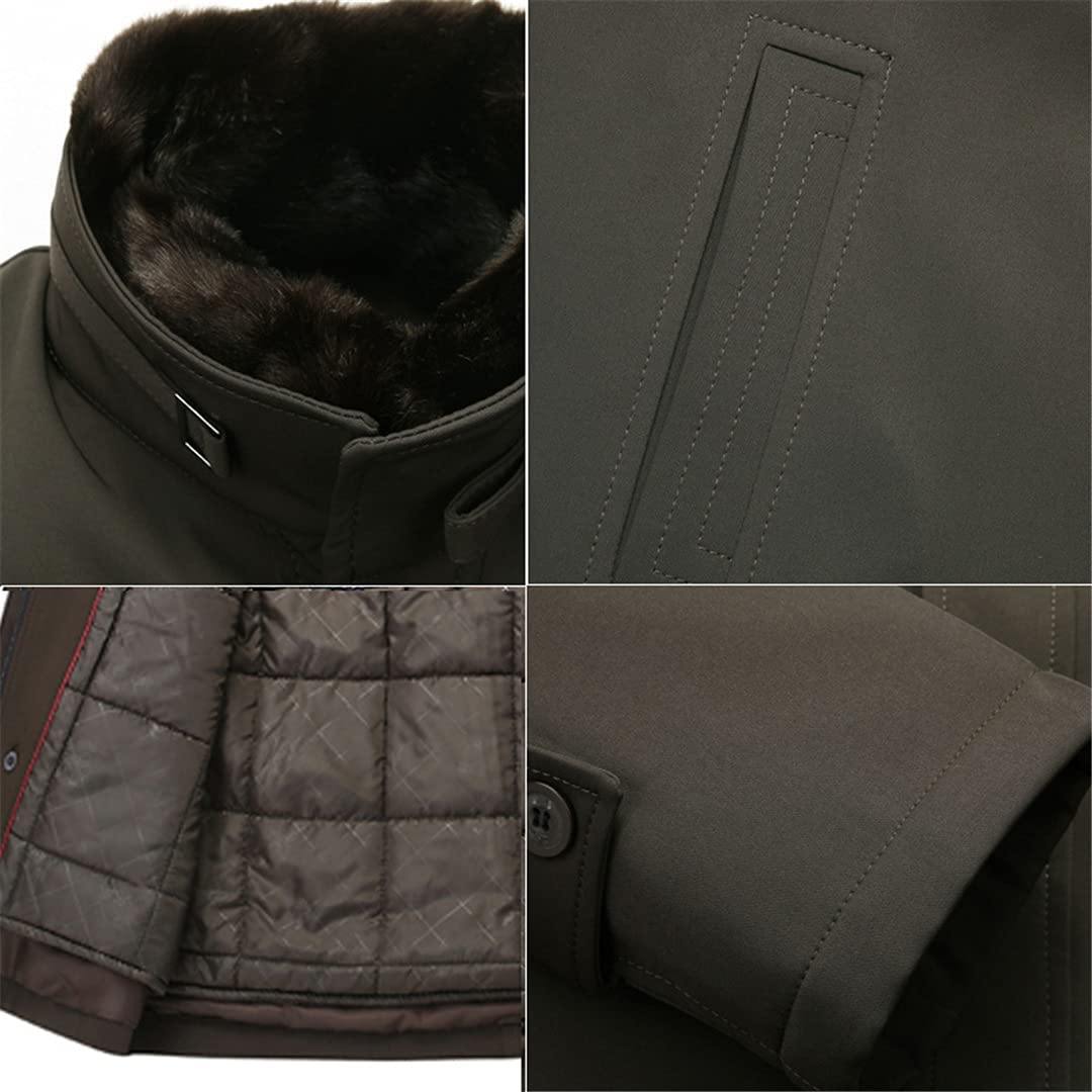 Mens Wool Blend Jackets Full Winter Casaco Removable Collar Winter Jacket Male Winter Pea Coat