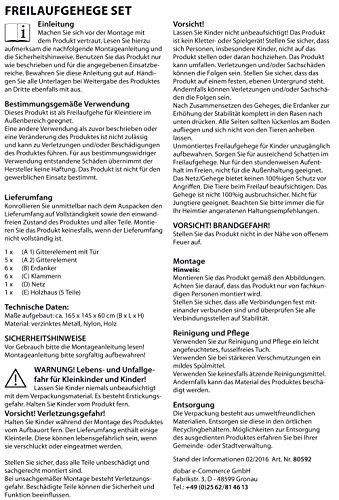 dobar 80605 Großes Kaninchengehege aus 6 Elementen, mit Nylon Netz und Holzhaus, XXL Freilauf für Hasen, Freilaufgehege XL, 165 x 145 x 60 cm, Silber - 7