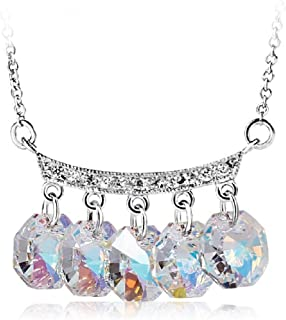UPSERA Necklace for Women Charm Pendant Crystals from Swarovski Silver Tone Jewelry, 16+2