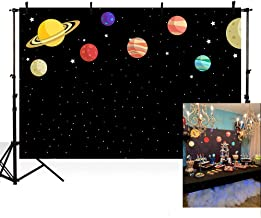 MEHOFOTO Black Photo Background Cartoon Outer Space Planet Starry Sky Children Birthday Party Backdrops Banner for Photography 7ftx5ft