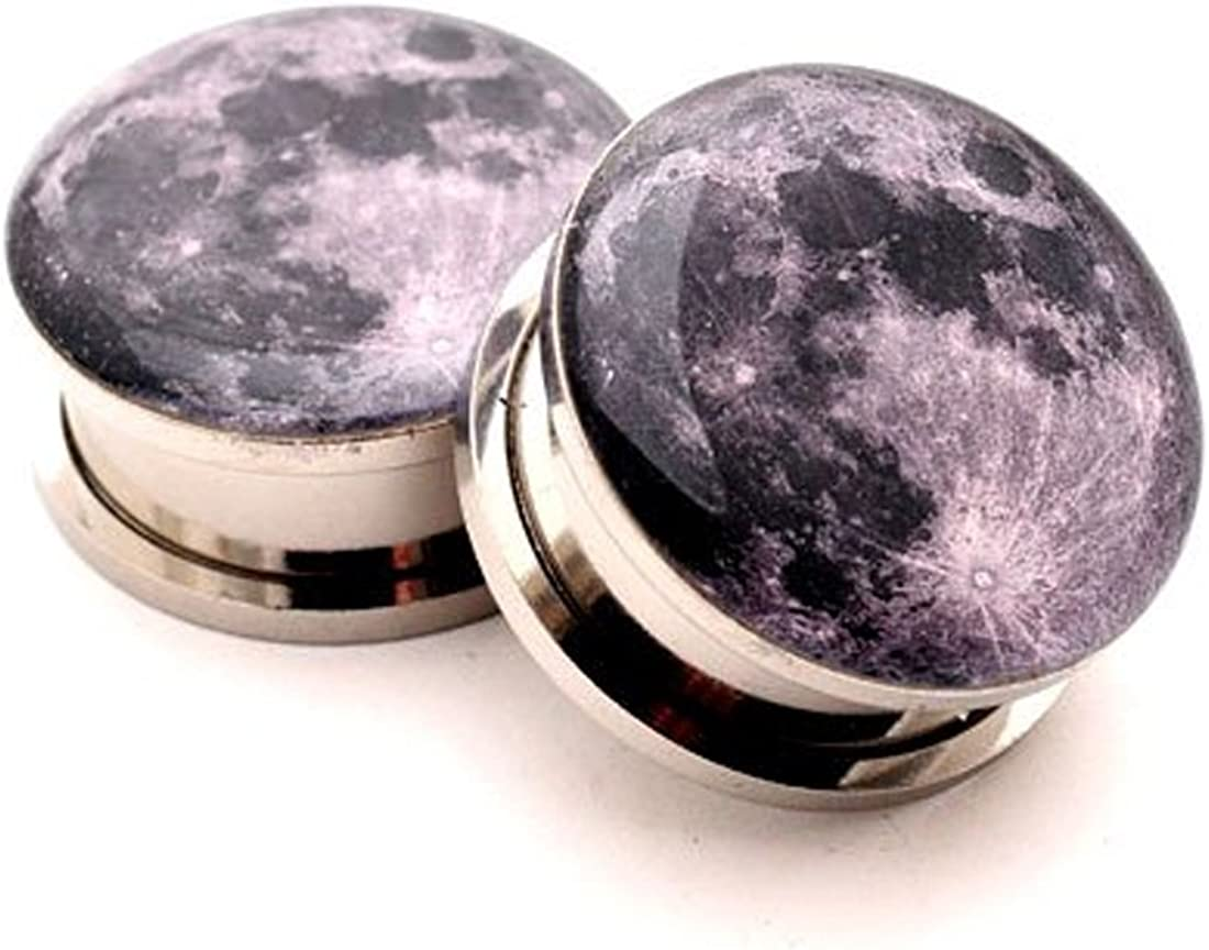 Mystic Metals Body Jewelry Screw on Pl Plugs Gorgeous - Free Shipping New Full Moon Picture