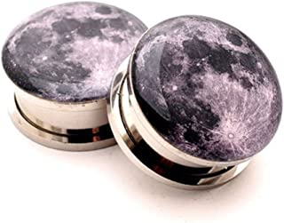 Mystic Metals Body Jewelry Screw on Plugs - Full Moon Picture Plugs - 2g - 6mm - Sold As a Pair