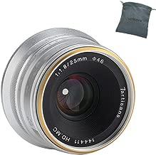 7artisans 25mm F1.8 APS-C Manual Fixed Lens for Fuji Cameras X-A1 X-A10 X-A2,X-A3 X-at X-M1 XM2 X-T1 X-T10 X-T2 X-T20 X-Pro1 X-Pro2 X-E1-Silver