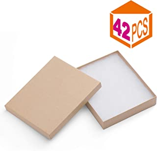 MESHA Cardboard Paper Box for Jewelry and Gift 6x5x1 Inch Thick Paper Box with Cotton Lining (Brown-42Pcs)