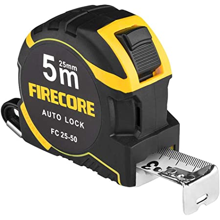 Firecore FC25-50 Measuring Tape Measure, 16.4 ft (5 m), Measure Scale, Nylon Coating, Distance Measurement Instrument, Easy to Read Diy Work Tool, Carpentry Tool