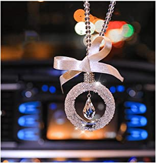 Boltz Crystal Water Drop Car Charm Rear View Mirror Accessories,Car Mirror Hanging Ornaments Decoration (Butterfly Family Tree Golden Color)