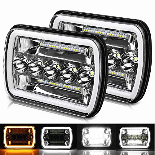 Pair Rectangular 5x7 7x6 Inch LED Headlights Sealed Beam Headlamp Amber/White DRL Halo Angel Eyes Compatible with Jeep Wrangler YJ Cherokee XJ Truck Replacement H6054 H5054 H6054LL (2pcs)