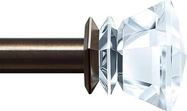 KAMANINA 1 Inch Curtain rods 72 to 144 Inches, Bronze Single Drapery Rod, Acrylic finials