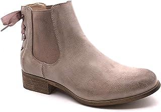 4e4f58c6dfe75 Angkorly - Chaussure Mode Bottine Chelsea Boots Femme Noeud Lacets Talon  Bloc 3 CM - Intérieur