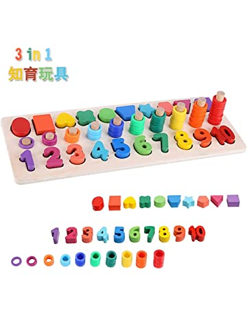 917b620a83cc7 モンテッソーリ 積み木 幼児 学習 パズル - Sendida 知育玩具 数字 パズル 型はめ 幼児 木製 1