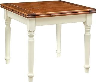 Biscottini Table à rallonge Style champêtre en Bois Massif Structure Blanche patinée sur Plan Noyer L90xPR90xH80 cm