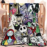 Nightmare Before Christmas Blanket Throw Fleece Jack Gifts Decor Size Halloween Soft Cozy Flannel Blankets for Sofa/Chairs/Bed -Lightweight Warm Cozy 60'x40'