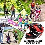 LXYDD Casco para niños Casco para niños con mentonera,Mentonera Desmontable,13 Orificios de Ventilación,Casco para Bicicleta para niñas y niños,Adapta al tamaño de la Cabeza 48-56cm,Dark Blue