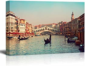 wall26 - Canvas Prints Wall Art - Rialto Bridge and Gondolas in Venice.   Modern Wall Decor/Home Decoration Stretched Gallery Canvas Wrap Giclee Print. Ready to Hang - 24