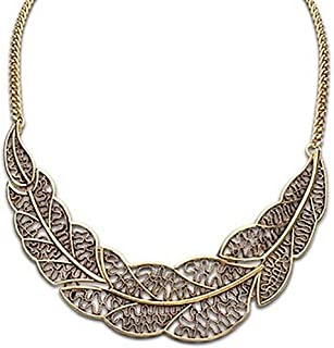 Boho Vintage Hollow Big Leaves Feather Choker Necklaces Pendants for Women Bib Necklace Jewelry Gift