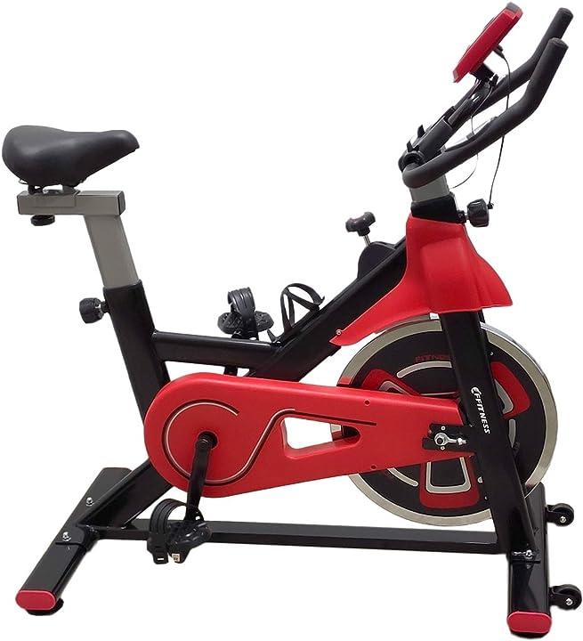 Cyclette spin bike fit da interno con porta cellulare, resistenza regolabile, cardio e volano 13kg ffitness FLUF3604