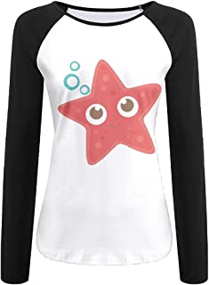 Women's Long Sleeve T-Shirt Crewneck Tops Sweatshirt Front Lovely Red Starfish Printed Patchwork Tees