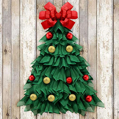 Christmas Wreath - 24 Inch Handmade Large Xmas Tree Wreath - Holiday Decorations for Home Front Door Window Wall Farmhouse Indoor Outdoor