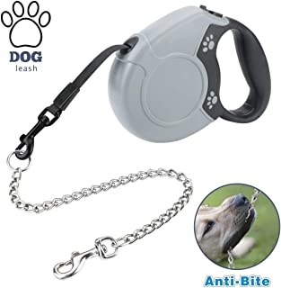 Idepet Heavy Duty Retractable Dog Leash for Small and Medium Dogs, Anti-Chewing Steel Chain Design,360°Tangle-Free,Break & Lock System,16ft Leash for Dog Walking