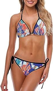 INTERESTPRINT Women's Bikini Swimsuit Halter Strap Tie Back Swimwear 2 Pieces Sets Camouflage Texture